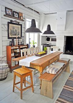 Perfect casual, rustic dining area.  Painted wood floors.  Raised hearth.  metal industrial pendant lights.  LUNDAG On RD |