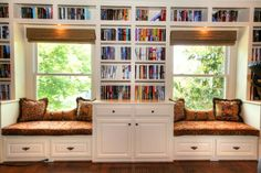Home Library Seating Pillows 33 Ideas Library Bookshelves, Bookcase Wall, Bookshelf Design, Bookshelf Bench, Cozy Reading Rooms, Reading Nooks, Built In Bench, Bench Set, Home Libraries