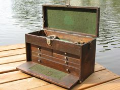 Vintage Industrial Wood Machinists Tool Box Cabinet Jewelry Craft Hobby Artists…