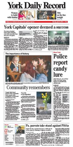 York Daily Record front page for Monday, April 8