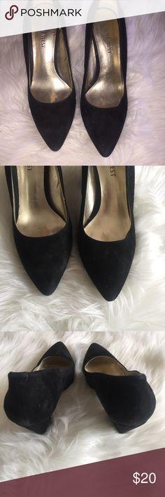 Size 6 Nine West Black Suede Angel Heel Pumps Size 6 Nine West Black Suede Angel Heel Pumps Nine West Shoes Heels