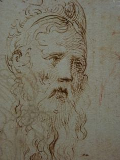 "PARMIGIANINO,1524 - Portrait de Galeazzo Sanvitale, Seigneur de Fontanellato, Etude (Louvre INV6472-Verso) - Detail -b  -  TAGS : drawing dessin disegno figure figures people personnes art painter peintre details détail détails ""Le Parmesan"" Parmesan ""Francesco Mazzola"" Francesco Mazzola Italy Italy Parme Parma France croquis étude study sketch sketches sanguine ""red chalk"" portrait Seigneur Fontanellato lord tête homme man ""tête d'homme barbu"" ""bearded man's head"" barbu bearded beard barbe"