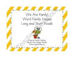 We Are Family Word Family Houses from MsGodbout from MsGodbout on TeachersNotebook.com (20 pages)  - Activity pages for students to practice making words in different long and short vowel word families.