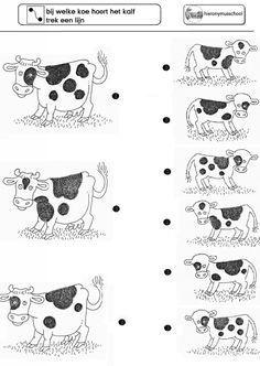 Wiskunde - weekblad verbind de juiste koe met de juiste kalf