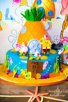 Cake at a Sponge Bob Squarepants party!  See more party ideas at CatchMyParty.com!  #partyideas #boybirthday