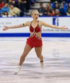 Amelie Lacoste of Canada skates during the ladies short program 2013 Skate Canada Red Figure Skating / Ice Skating dress inspiration for Sk8 Gr8 Designs.