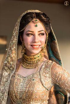 Bride in golden attire