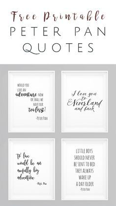 Peter Pan movie quotes FREE Printables - Set of 4 - perfect wall art for nursery, kids room, or playroom - OkieHome blog and freebies