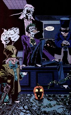 Joker, two face, Solomon Grundy, mad hatter & penguin - Tim Sale, Jeph Loeb - Batman The Long Halloween Batman Hero, Im Batman, Marvel Dc Comics, Comic Book Artists, Comic Books Art, Comic Art, Comic Movies, Comic Book Characters, Batman The Long Halloween