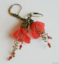 'Ruffled Calla Lily Earrings ~ Red ' is going up for auction at  5pm Thu, Jul 19 with a starting bid of $5.