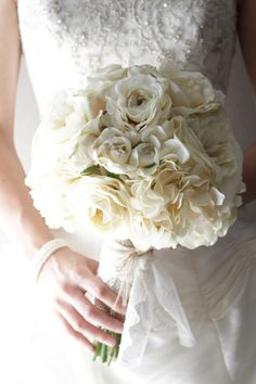 Ivory Silk Flower Burlap and Lace Bridal Bouquet on Etsy