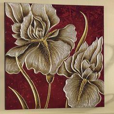 Mystic Flowers Wall Art from Midnight Velvet. Clay Wall Art, Sculpture Painting, Wall Art Pictures, Mural Art, Texture Painting, Flower Art, Art Flowers, Painting Inspiration, Modern Art