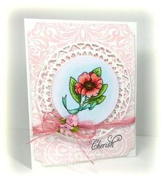 Botanical Medallions card designed by Linda Duke.  Background paper created with Heart Scroll Background Stamp.