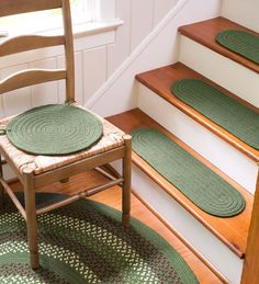 """Country Classic Braided Polypropylene Rugs in classic """"race track"""" design wear like iron and look great for years. Coordinating Chair Pads and Stair Treads complete the look."""