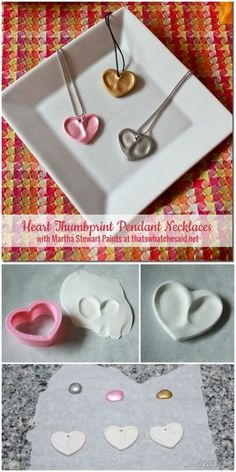Heart Thumbprint Charm Necklaces Store bought oven bake clay paired with some cute thumbprints and a heart cookie cutter and you are set to make this one of a kind keepsake thumbprint heart necklaces! Perfect keepsake gift to give and receive! Valentine Crafts For Kids, Baby Crafts, Toddler Crafts, Crafts To Do, Diy Crafts For Kids, Holiday Crafts, Heart Crafts, Valentines Sweets, Mothers Day Crafts For Kids