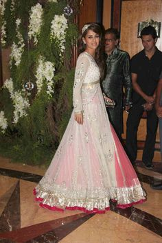 My wedding dream dress! Indian Dresses, Indian Outfits, Indian Clothes, Desi Clothes, Saree Gown, Pink And White Dress, Indian Attire, Indian Wear, Desi Wear