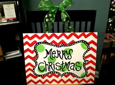 Merry Christmas Chevron Canvas