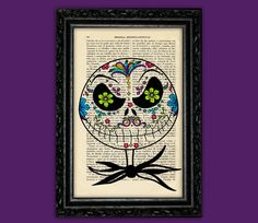 Jack Skellington Sugar Skull Nightmare Before Christmas Print - Tim Burton Nº10 Halloween Poster Book Art Dorm Room Wall Decor Poster Art