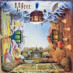 """Cubic View: """"4siders"""" 4 sides view of different parts of the space by Jacek Yerka. # creative # art # paintings"""
