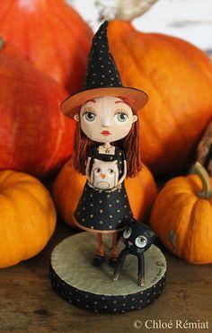 Sorcière d'Halloween, OOAK doll