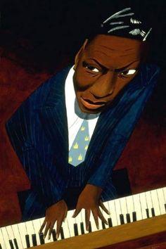 Canal~Art  Le pianiste Nat King Cole Tableau de Mark Ulriksen