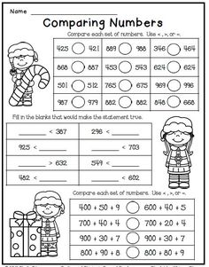 Freebie--Print and Go Christmas math worksheet freebie for second grade--comparing numbersChristmas math worksheet freebie for second grade--comparing numbers Halloween Math Worksheets, 2nd Grade Math Worksheets, Christmas Worksheets, Free Worksheets, Maths 3e, Class 3 Maths, Second Grade Math, Second Grade Freebies, 2nd Grade Math Games