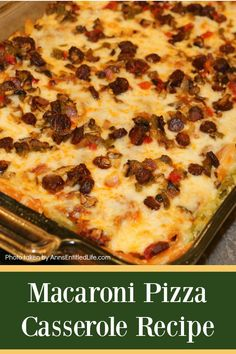 This baked Macaroni Pizza Casserole Recipe is an easy to make, crowd-pleasing pizza-tasting casserole that is the ultimate in comfort food. Your whole family will love it!