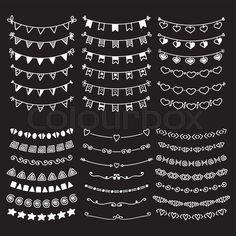 Stock vector of 'Sketch doodle dividers borders. Hand drawn vector line border set. Vector design elements. Vector illustration'