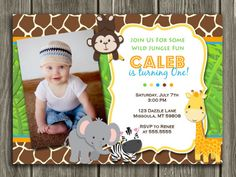 Printable Jungle Birthday Invitation | Photo Invite | Boys First Birthday Party Idea | Zoo | Safari | FREE Thank You Card Included | Printable | Matching Party Package Available! Banner | Cupcake Toppers | Favor Tag | Food and Drink Labels | Signs | Candy Bar Wrapper | www.dazzleexpressions.com