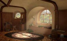 Es en realidad una ilustración digital inspirada en el Hobbit, que lo único que tiene realmente tomado de una foto es el paisaje que se ve desde la ventana.. Su autor es MysterMism. Así que si bien sigue siendo un espacio que cualquier lector amaría tener, se ha cambiado su pertenencia a la sección más apropiada, que es Arte Digital.