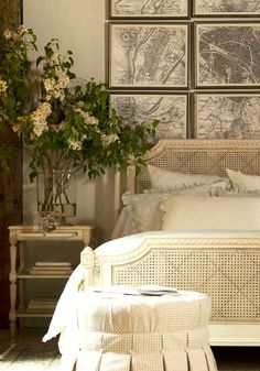 Oversized floral arrangements. Ethan Allen romantic bedrooms.