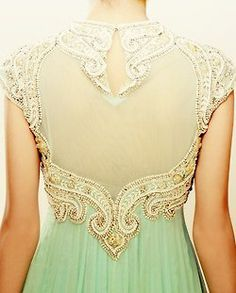 cream and mint with a detailed back