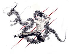 """""""Enter the Dragon"""" 18'' x 25''. watercolor. Bruce Lee"""