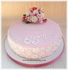 Pink Lace 65th Birthday Cake