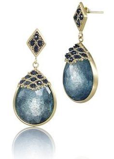 Moss aqua and woven blue diamond earrings by Amali Jewelry Design. #aquamarine #mossaqua #marchbirthstone DVVS Fine Jewelry