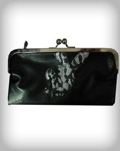 Playboy Bunny Head Lace Kiss Lock Wallet