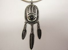 Native American Sterling Bear Claw and Feather Pendant by COBAYLEY, $48.00