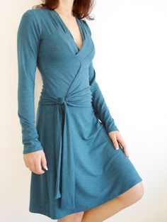 Womens A line Wrap Dress made of Teal Jersey - Knee Length. $95.00, via Etsy.