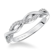 "Picture of Artcarved ""Gabriella"" Twist Style Diamond 14K White Gold Wedding Band"