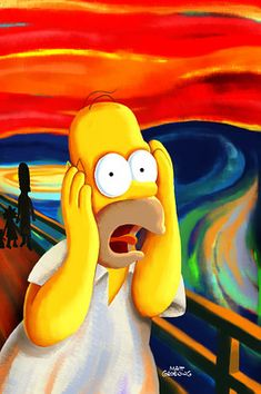 """The Scream"" has inspired many pop-culture mash-ups. Here, Homer Simpson swirls with existential dread."