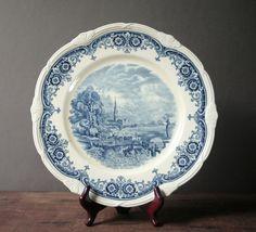 Blue transferware English vintage plate Salisbury by cristinasroom, $14.50