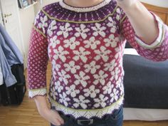 """Spring is he second of the series of """"Season patterns"""". For Autumn, which was the first I designed, you had to steek. That prevented many from knitting the cardigan and for Spring, I have designed a pattern where you knit all of it on circular needles. Circular Needles, Knit Fashion, Christmas Sweaters, Knitting Patterns, Floral Tops, Knit Crochet, My Design, Ravelry, Autumn"""