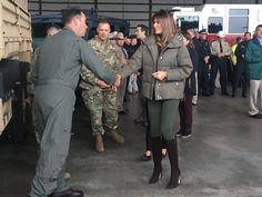 Melania Trump Returns to Hurricane Harvey Site in Stiletto Boots | Accompanied by vice president Mike Pence's wife, Karen, Melania Trump met with military officials and Hurricane Harvey first responders in the hangar at Corpus Christi International Airport on Wednesday morning.