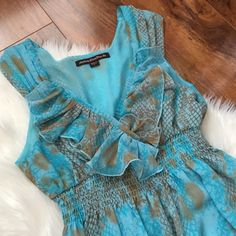 Blue & brown flowy dress Great baby/bridal shower dress. Casual but cute. Pre-loved. Offers welcome through offer tab. No trades. Mishka by Sienna Rose Dresses