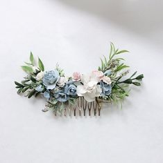 Excited to share the latest addition to my shop: Blue and white hair flowers, Blue and white headpiece, greenery comb, floral hair comb, floral … - Hairstyles For All Diy Bridal Hair, Diy Wedding Hair, Wedding Hair Flowers, Wedding Hair Pieces, Wedding Hair And Makeup, Flowers In Hair, Bridesmaid Hair With Flowers, Floral Flowers, Headpiece Wedding