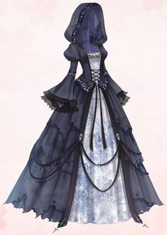 Cosplay Dress, Cosplay Outfits, Anime Outfits, Mode Outfits, Pretty Outfits, Pretty Dresses, Old Fashion Dresses, Fashion Outfits, Black Gothic Dress