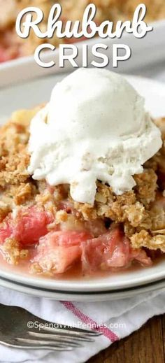 With a perfect balance between sweet and tart, Rhubarb Crisp is a delicious, old fashioned dessert prepared in just minutes! This easy Rhubarb Crisp is a delicious and easy dessert you can make in minutes! With the perfect balance between sweet and tart, rhubarb crisp is going to be your new summer favorite. #spendwithpennies #easyrecipe #easydessert #rhubarbcrisp #strawberryrhubarb #withoatmeal #bakedrecipe #fruitcrisp