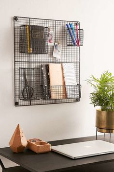 Wall Square Grid -Wire Wall Square Grid - Grid Hanging Basket Iron Wall Mounted Storage Home Decor Teen Room Decor, Diy Room Decor, Bedroom Decor, Home Decor, Girls Bedroom, Home Office Desks, Office Decor, Desk Organization, My Room