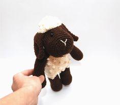 black crocheted sheep amigurumi sheep stuffed by crochAndi on Etsy, $38.00
