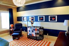 Beautiful baby boy nursery from @BabyCenter. Signal flags would look great in this room!